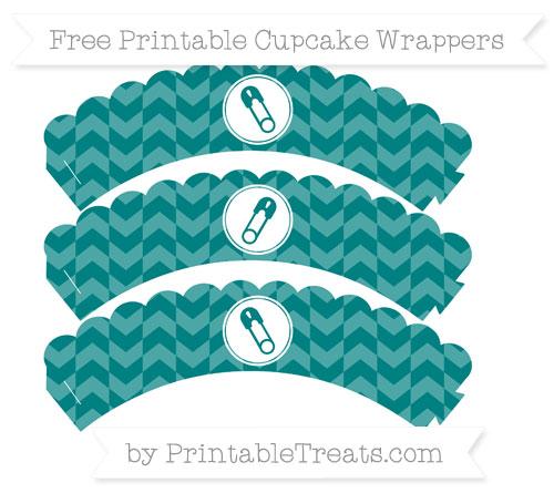 Free Teal Herringbone Pattern Diaper Pin Scalloped Cupcake Wrappers