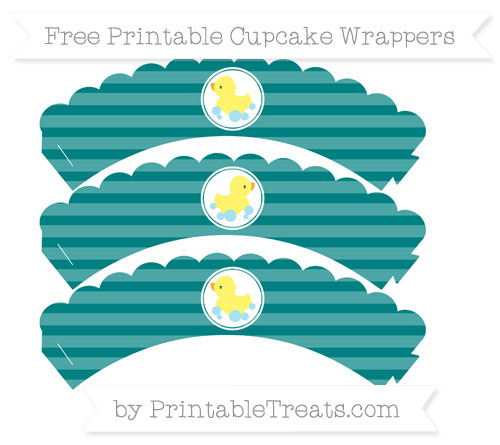 Free Teal Horizontal Striped Baby Duck Scalloped Cupcake Wrappers