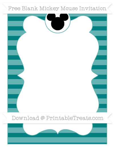 Free Teal Horizontal Striped Blank Mickey Mouse Invitation