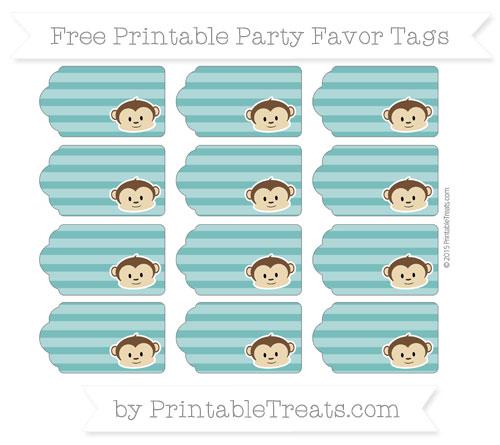 Free Teal Horizontal Striped Boy Monkey Party Favor Tags