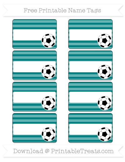 Free Teal Horizontal Striped Soccer Name Tags