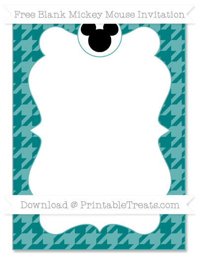 Free Teal Houndstooth Pattern Blank Mickey Mouse Invitation