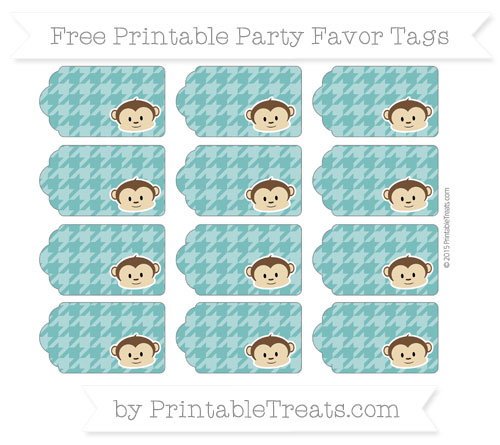 Free Teal Houndstooth Pattern Boy Monkey Party Favor Tags