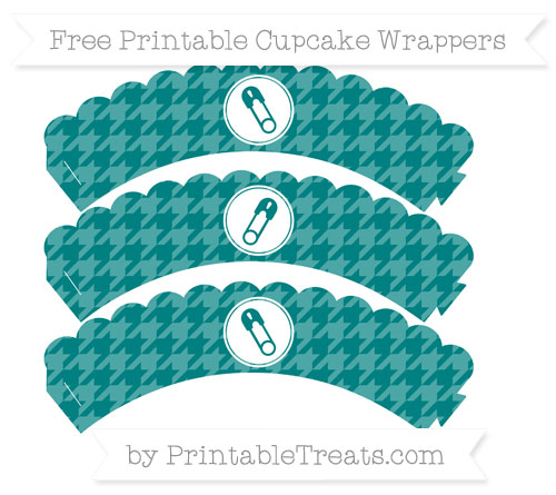 Free Teal Houndstooth Pattern Diaper Pin Scalloped Cupcake Wrappers