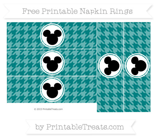Free Teal Herringbone Pattern Mickey Mouse Napkin Rings