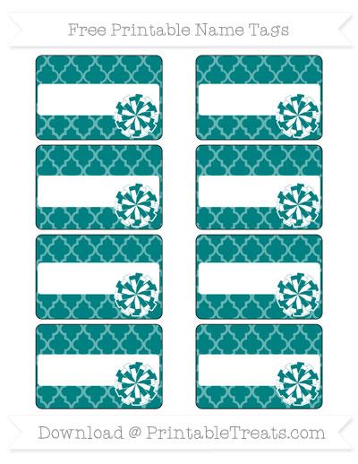 Free Teal Moroccan Tile Cheer Pom Pom Tags