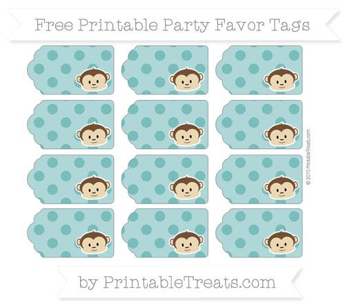 Free Teal Polka Dot Boy Monkey Party Favor Tags