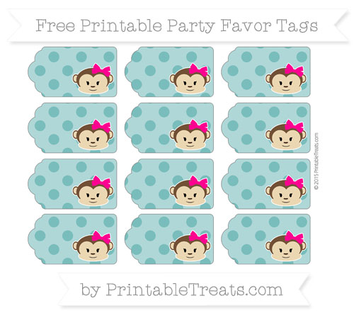 Free Teal Polka Dot Girl Monkey Party Favor Tags