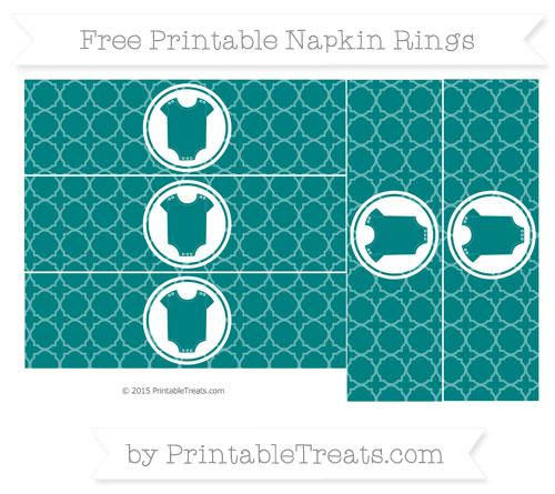 Free Teal Quatrefoil Pattern Baby Onesie Napkin Rings