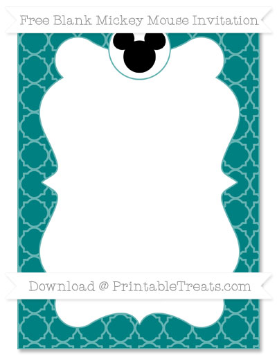 Free Teal Quatrefoil Pattern Blank Mickey Mouse Invitation