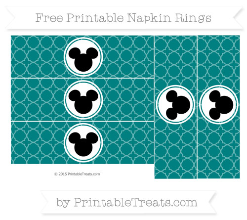 Free Teal Quatrefoil Pattern Mickey Mouse Napkin Rings