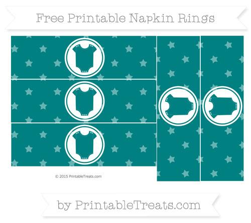 Free Teal Star Pattern Baby Onesie Napkin Rings
