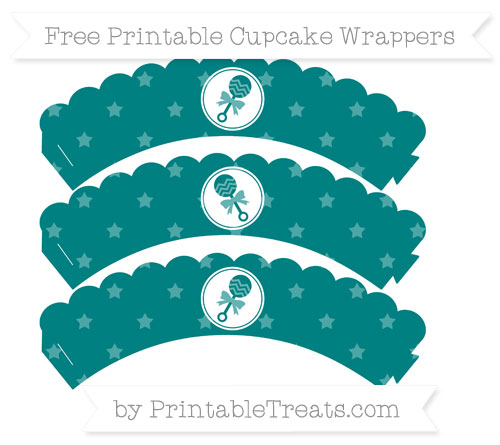 Free Teal Star Pattern Baby Rattle Scalloped Cupcake Wrappers