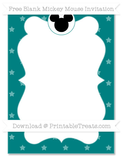 Free Teal Star Pattern Blank Mickey Mouse Invitation