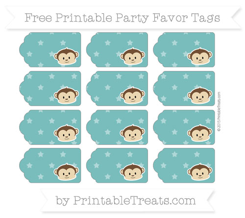 Free Teal Star Pattern Boy Monkey Party Favor Tags