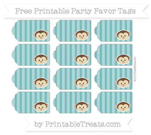 Free Teal Striped Boy Monkey Party Favor Tags