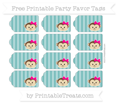 Free Teal Striped Girl Monkey Party Favor Tags