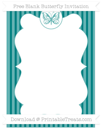 Free Teal Thin Striped Pattern Blank Butterfly Invitation