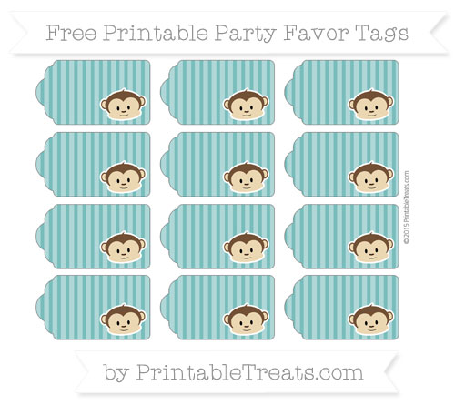 Free Teal Thin Striped Pattern Boy Monkey Party Favor Tags