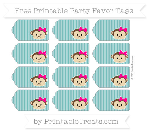 Free Teal Thin Striped Pattern Girl Monkey Party Favor Tags