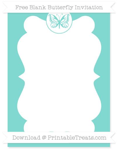 Free Tiffany Blue Blank Butterfly Invitation