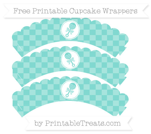 Free Tiffany Blue Checker Pattern Baby Rattle Scalloped Cupcake Wrappers