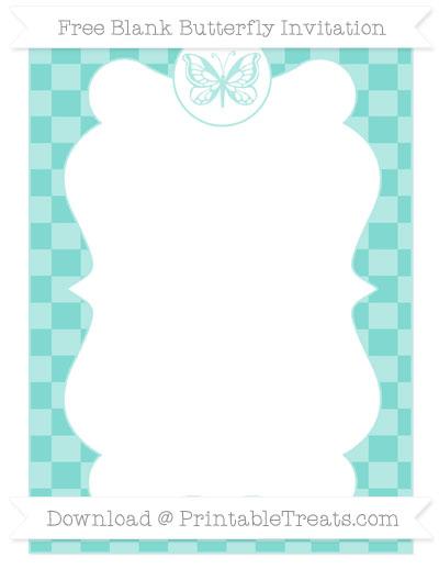 Free Tiffany Blue Checker Pattern Blank Butterfly Invitation