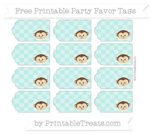 Free Tiffany Blue Checker Pattern Boy Monkey Party Favor Tags