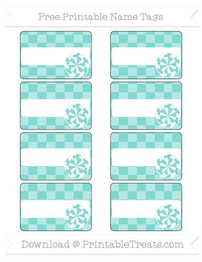 Free Tiffany Blue Checker Pattern Cheer Pom Pom Tags