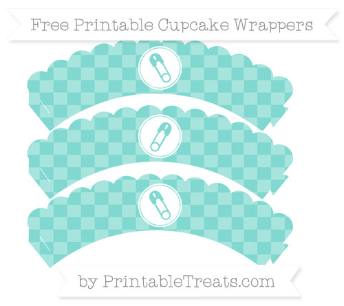 Free Tiffany Blue Checker Pattern Diaper Pin Scalloped Cupcake Wrappers