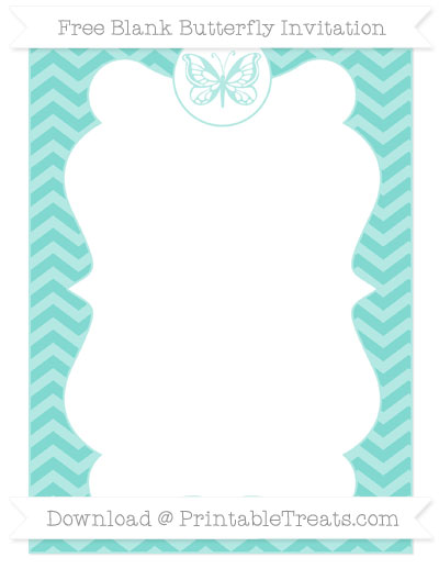 Free Tiffany Blue Chevron Blank Butterfly Invitation