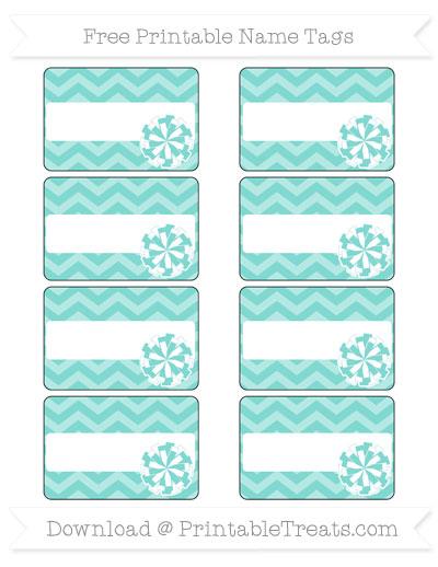 Free Tiffany Blue Chevron Cheer Pom Pom Tags