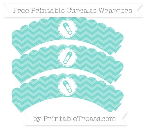 Free Tiffany Blue Chevron Diaper Pin Scalloped Cupcake Wrappers