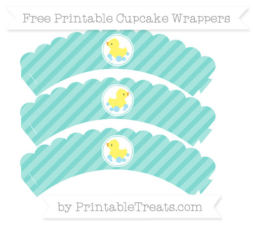 Free Tiffany Blue Diagonal Striped Baby Duck Scalloped Cupcake Wrappers