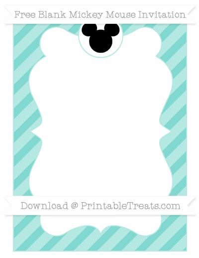 Free Tiffany Blue Diagonal Striped Blank Mickey Mouse Invitation