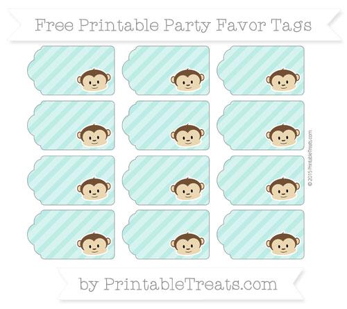Free Tiffany Blue Diagonal Striped Boy Monkey Party Favor Tags