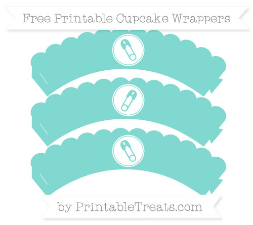 Free Tiffany Blue Diaper Pin Scalloped Cupcake Wrappers