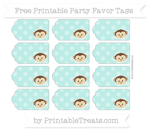 Free Tiffany Blue Dotted Pattern Boy Monkey Party Favor Tags
