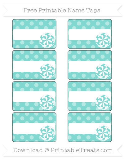 Free Tiffany Blue Dotted Pattern Cheer Pom Pom Tags