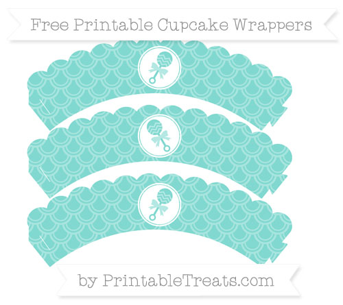 Free Tiffany Blue Fish Scale Pattern Baby Rattle Scalloped Cupcake Wrappers