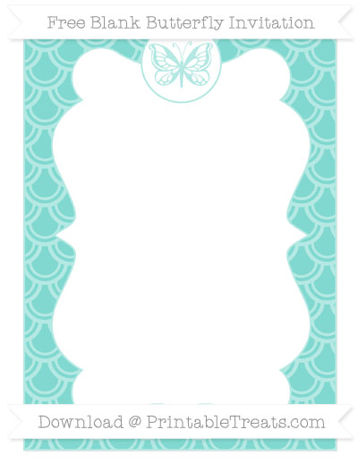 Free Tiffany Blue Fish Scale Pattern Blank Butterfly Invitation