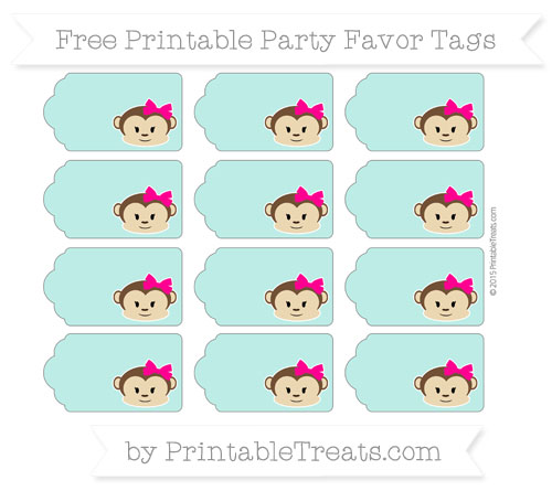 Free Tiffany Blue Girl Monkey Party Favor Tags