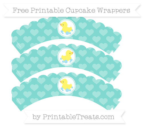 Free Tiffany Blue Heart Pattern Baby Duck Scalloped Cupcake Wrappers