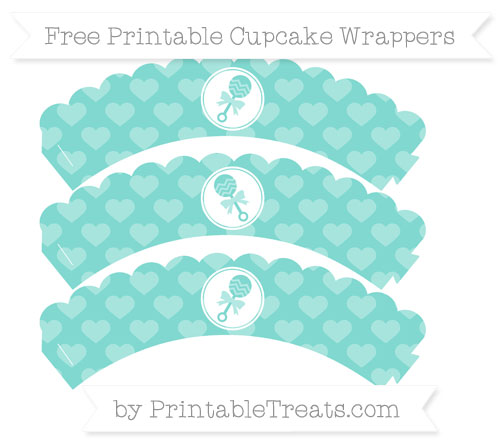 Free Tiffany Blue Heart Pattern Baby Rattle Scalloped Cupcake Wrappers