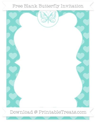 Free Tiffany Blue Heart Pattern Blank Butterfly Invitation