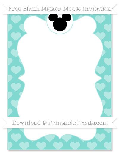 Free Tiffany Blue Heart Pattern Blank Mickey Mouse Invitation