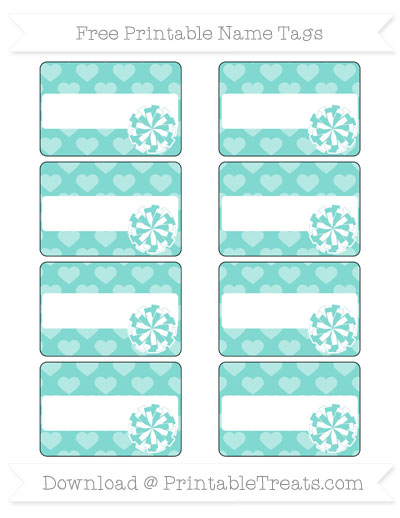 Free Tiffany Blue Heart Pattern Cheer Pom Pom Tags