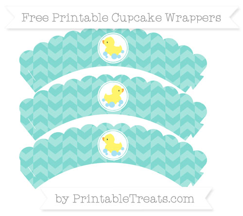 Free Tiffany Blue Herringbone Pattern Baby Duck Scalloped Cupcake Wrappers