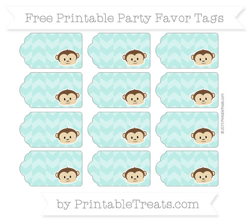 Free Tiffany Blue Herringbone Pattern Boy Monkey Party Favor Tags