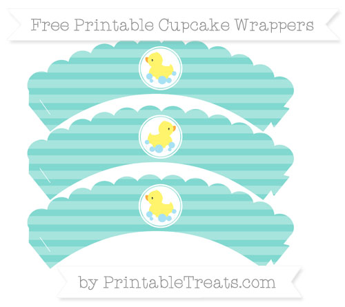 Free Tiffany Blue Horizontal Striped Baby Duck Scalloped Cupcake Wrappers